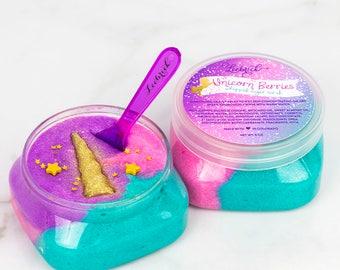 Unicorn sugar scrub, unicorn party favors, unicorn gift, whipped sugar scrub, spa gifts, soap sugar scrub, exfoliating sugar scrub