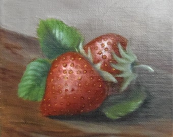 Kitchen wall decor, Small still life painting, Small wall art, small wall decor, Food painting, Fruit painting, Strawberry painting