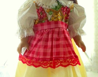 Doll Dress with summer crop, fits 18 inch doll, Handmade Doll Dress for 18 inch doll also fits 20 inch doll