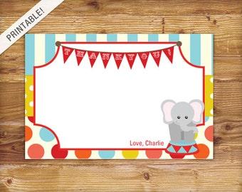 Custom Carnival Thank You Card - Circus Thank You Card - Birthday Invitation - Printable