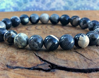 A Grade 8mm Silver Leaf Jasper Bracelet, Wrist Mala Beads, Gift for Him, Meditation Jewelry, Grounding - Introspection - Slowing Down