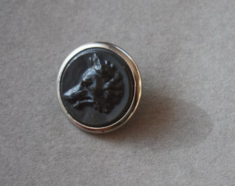 French, Metal, Antique Sporting Button with Wolf Head Profile and R L & F (RF) Paris Back Mark, circa 1800s