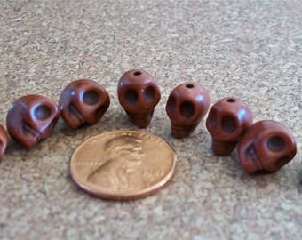 Skull Tiny Brown Howlite Stone Beads