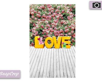 """Yellow """"Love"""" and Roses Photography Backdrop"""