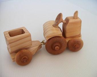 Wooden Farm Tractor and Grain Bin Trailer