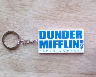Dunder Mifflin Keychain   The Office Keychain  Dwight Schrute  Michael Scott  tv shows