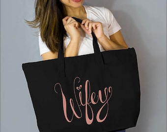 "Copper Wifey Large Zip Tote: 100% Black Natural Cotton Canvas 22""W x 15""L x 5""D with Interior Zippered Pocket and Bottom Gusset- Ellafly"