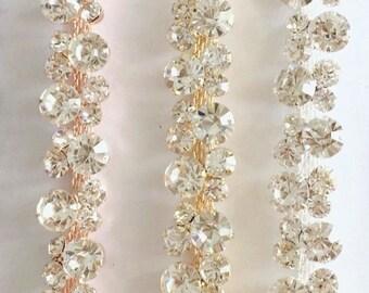 Gold Rhinestone Trim by the Yard -Wholesale gold Bridal Trim - gold Thin Crystal Trimming cupchain -gold Rhinestone Applique [TR-001]