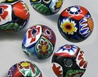 Vintage Murano millefiore flower beads 6mm. pkg of 8. b1-641-4(e)