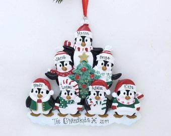 7 Happy Christmas Penguins Personalized Christmas Ornament / Family Christmas / Penguin Family ornament / 7 Penguin ornament