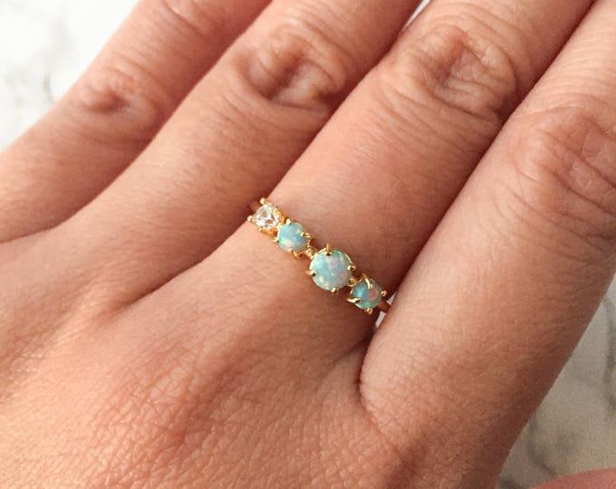Mint Multi Opal Gold Ring - Adjustable