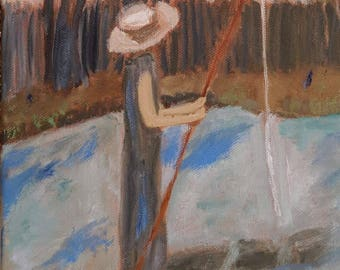 Lady with the Fishing Pole - SOLD