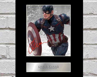 Chris Evans 10x8 Mounted Signed Photo Print Captain America