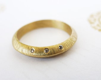 Eclipse In Gold With Diamonds. 14K Gold Ring Set with 3 Diamonds. Triangle Profile Gold Ring. Delicate Handmade Diamond Engagement Ring.