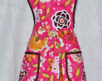 Beautiful Pink and Chocolate Apron, Two Pockets, Flowers, Personalized With Name, No Shipping Charge, Ready To Ship TODAY, AGFT 494
