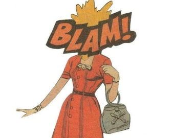 Original Collage, Onomatopoeia Art, Blam, Comic Artwork