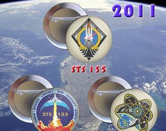 Space Shuttle Last Flights 2011 Pinback Button Set includes 3 buttons