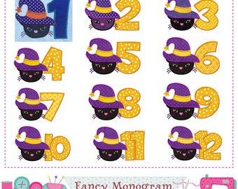 Halloween Numbers applique,Witch cat Numbers applique,Witch cat,Halloween Numbers,Birthday Numbers design,1~12,Halloween applique.-1780