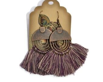 Chandelier tassel earrings, Long drop earrings, Copper dangle earrings, Boho earrings, Maroon earrings, Tassel earrings, Trendy earrings