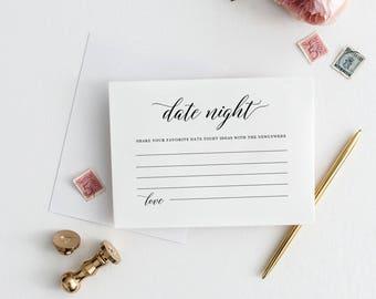 Date Night Idea Card Template Date Night Cards Wedding