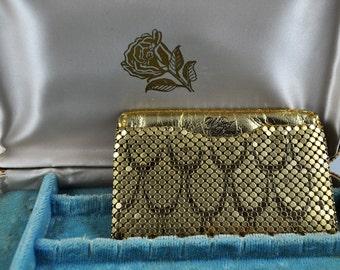 Whiting & Davis purse, business card holder, gold mesh wallet