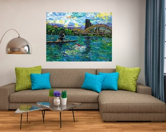 Rowing art, River art, on the water, Pittsburgh Artist, Black n Gold, Three Rivers Pittsburgh,  by Johno Prascak