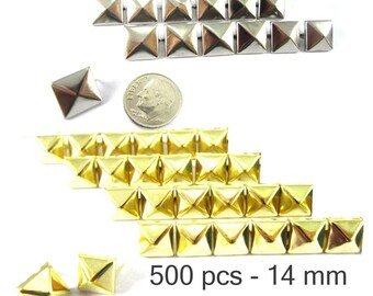 500 pcs - 9/16 po (14 mm). Nailheads taches Pyramid Studs - 2 broches (2 cuisses) Square Stud Spike - pour le bricolage sac, chaussures, vêtements