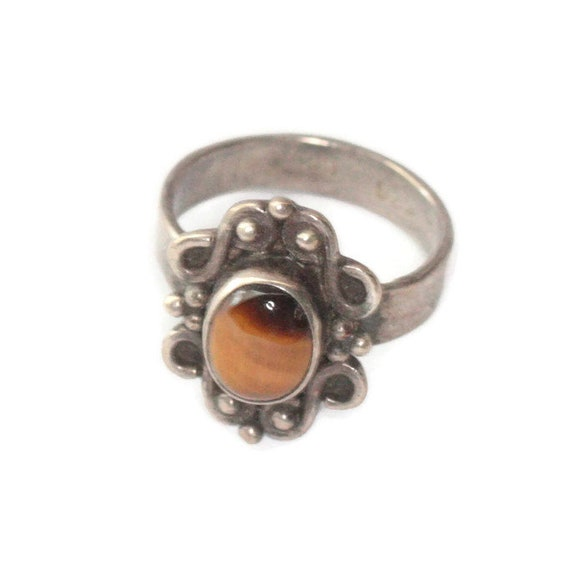 Tiger Eye and Sterling Silver Ring Boho Bohemian Approximately Size 6 1/4