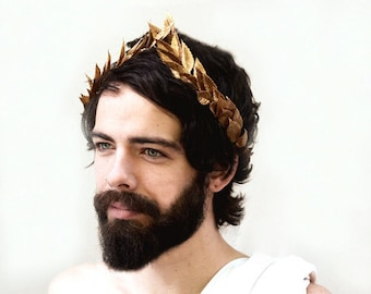 Gold Man Crown, Men's Gold Leaf Laurel, Greek Crown, Gold Leaf Crown, Beltane Costume, Gold Crown, Greek Hair Laurel, Gold Leaf Headpiece, G