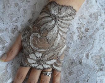 Fingerless gloves lace, fingerless lace short taupe lace fingerless gloves short taupe, brown short fingerless gloves, fingerless gloves lace Brown town