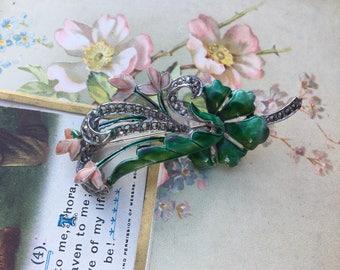 Stunning - Authentic Vintage - Marcasite - Flower Brooch - Bouquet - Floral Design - Silvertone Metal - Signed BHL - RARE