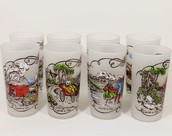 """Hazel Atlas """"Gay Fad"""" Currier and Ives Frosted Tumblers Set of 8, 1950's Vintage"""