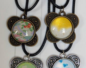 Butterfly metal floral glass cabochon necklace