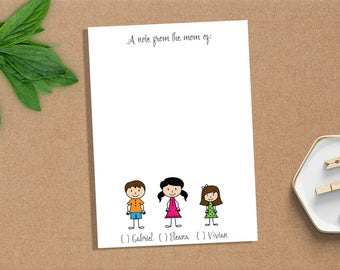 Mom of Notepad, Note from the Mom of Notepad, Kids Notepad, Back to School, 5x7 Custom Notepad, Custom Stationery, Custom Notepad