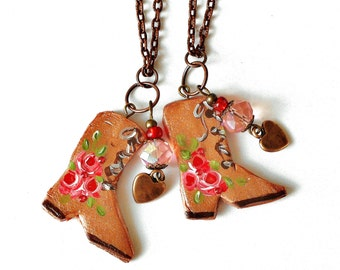 Boho Cowgirl Boot Charm Necklace Painted Roses Western Jewelry FREE SHIPPING