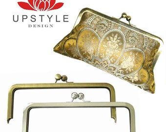 8 x 3 Metal Purse Frames - Set of 10 - Antique Gold or Nickel (Silver) - Ships FREE to USA