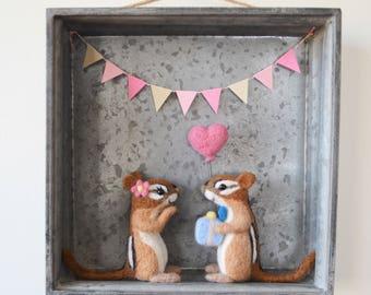 Chippy Love wall hanging sculpture, needle felted bird sculpture