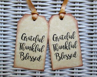 Grateful Thankful Blessed Tags, Thanksgiving Favor Tags