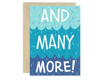 And Many More Illustrated Greeting Card, Blue