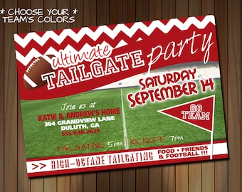 Tailgating Party Invitation OR Birthday Party Invitation - Football Party - Choose Your Team Colors - Red White