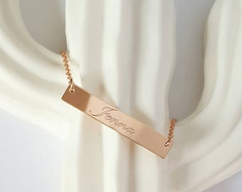 Engraved Rose Gold Filled Necklace, Rose Gold Bar, Personalized Necklace,Customized Necklace, Name Necklace, Bridesmaid Gift, Birthday Gift