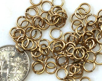 TierraCast Jump Rings, 4 mm 20 Gauge, 4mm Round Jump Rings, Chain Mail Findings, Jewelry Findings, Antiqued Brass, 100 or More Pieces, 2427