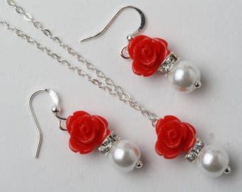 Flower girl jewelry set, red jewelry set, red flower girl necklace, red and white jewelry set, Flower girl gift, red flower girl jewelry
