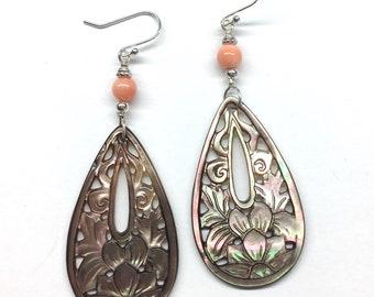 Mother of Pearl Earrings, Carved Shell Earrings,Coral Earrings,Carved Floral Pattern Mother of Pearl,Coral Bead 925 Sterling Silver Earrings