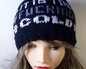 It Is Too Fucking Cold Beanie Knit Hat Skulls Winter Warm