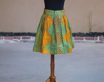 african print/ kitenge box pleated short skirt
