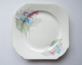 Shelley Hydrangea Tea Plate or Cake Plate. Hand Painted Shelley Side Plate, With Blue Hydrangea Flowers. Trio Spares. Great For A Tea Party
