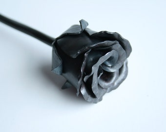 USA Made Metal Flower FOREVER Rose BUD Handmade Forged Iron Flower Steel 6th Wedding Steampunk Anniversary Valentines Day Gift