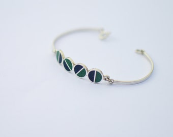 Sterling Silver Bracelet, Divided Circles, Green, Blue, Modern, Contemporary, Color