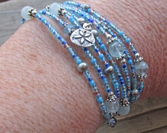 Dolphin Sand Dollar Aquamarine Blue Topaz Wrap Healing Gemstone Bracelet Necklace